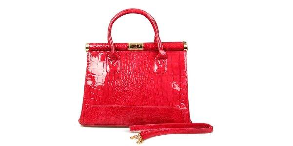 Dámská lesklá růžovočervená kabelka London Fashion