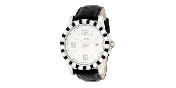 Dámské černo-bílé analogové hodinky s krystaly Esprit