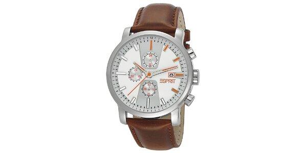 Pánské analogové hodinky s hnědým náramkem Esprit