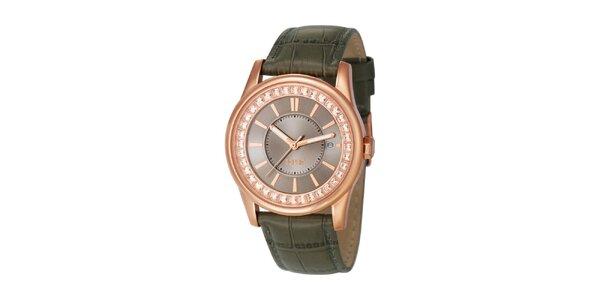 Dámské růžovozlaté hodinky se zeleným řemínkem Esprit
