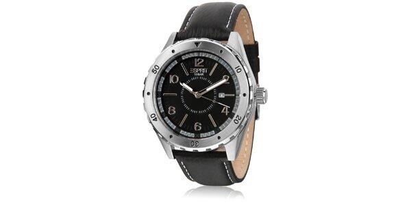 Pánské černé analogové hodinky s datumovkou Esprit