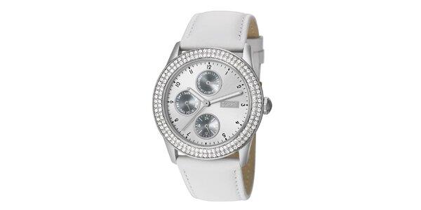 Dámské hodinky Esprit s bílým řemínkem a krystalky