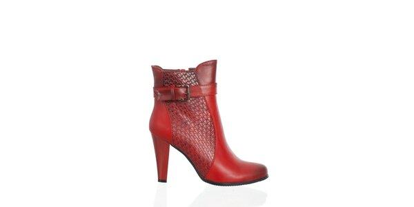 Dámskéčervené kotníčkové boty Moow