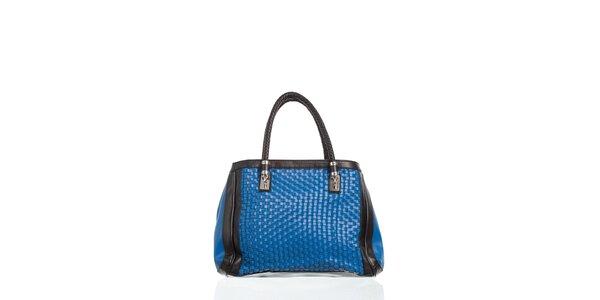 Dámské zářivě modrá kabelka Moow s ozdobným proplétáním