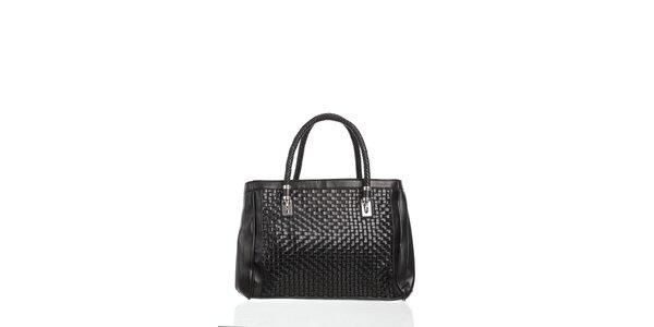 Dámské černá kabelka Moow s ozdobným proplétáním