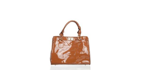 Dámská béžová lakovaná kabelka Moow