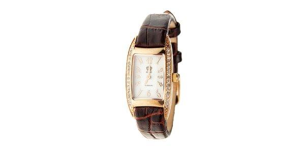Dámské zlaté hodinky Royal London s hnědým řemínkem