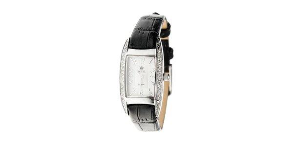 Dámské stříbrné hodinky Royal London s černým řemínkem a krystaly