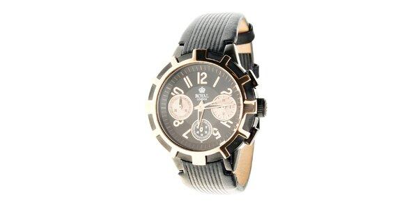 Dámské zlato-černé hodinky Royal London s černým koženým řemínkem