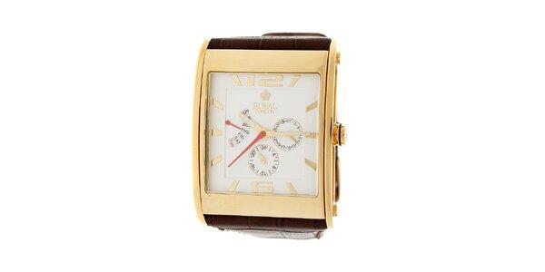 Zlaté hodinky Royal London s hnědým koženým řemínkem