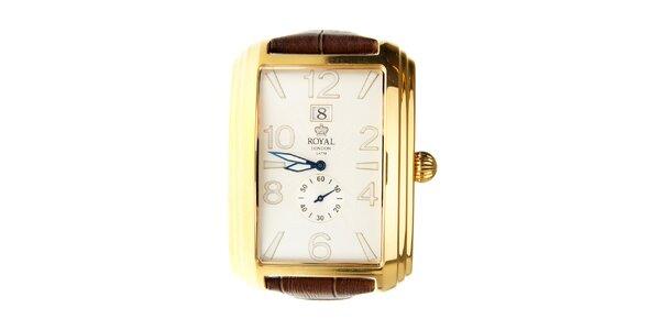 Pánské zlaté hodinky Royal London s hnědým řemínkem