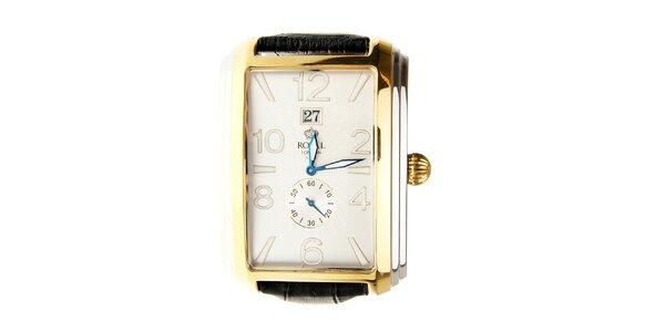 Pánské zlaté hodinky Royal London s černým řemínkem
