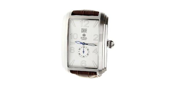 Pánské stříbrné hodinky Royal London s hnědým řemínkem