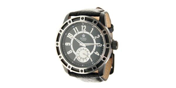 Černo-stříbrné hodinky Royal London s černým koženým řemínkem