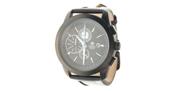 Pánské černé hodinky Royal London s černým koženým řemínkem