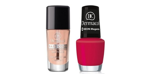 Dermacol Lak na nehty Neon Magenta č.4 5ml+Dermacol Base Coat s kalciem 10ml