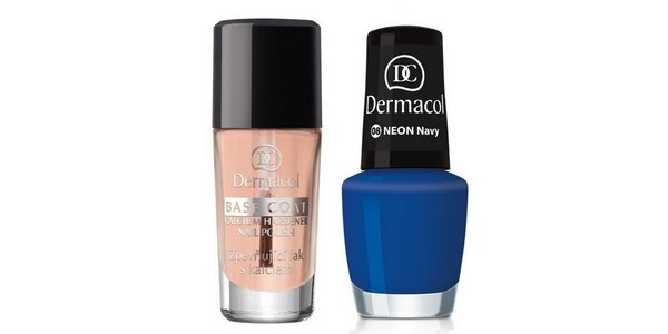 Dermacol Lak na nehty Neon Navy č.8 5ml+Dermacol Base Coat s kalciem 10ml