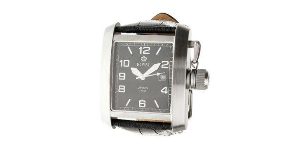 Pánské ocelové hodinky Royal London s černým koženým řemínkem