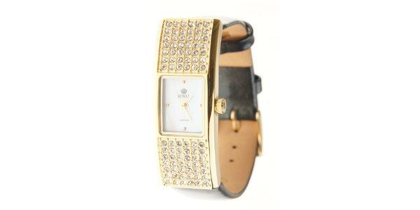 Dámské zlaté hodinky Royal London s černým řemínkem a krystaly