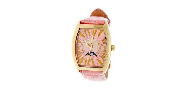 Dámské zlaté hodinky Royal London s růžovým řemínkem