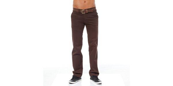 Pánské tmavě hnědé chino kalhoty Bendorff