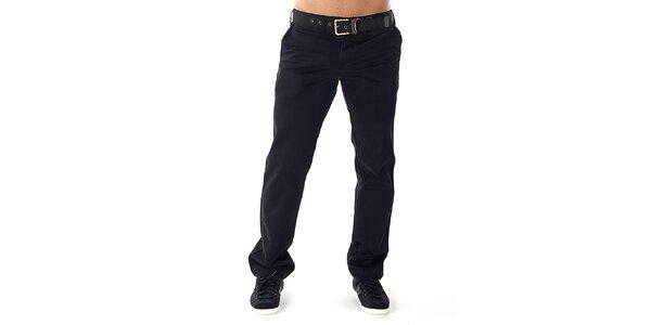 Pánské černé kalhoty s páskem Bendorff