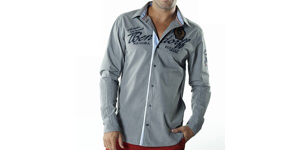 Pánská šedo-modrá košile s nášivkami Bendorff