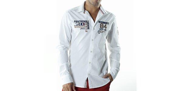 Pánská bílá casual košile s nášivkami Bendorff