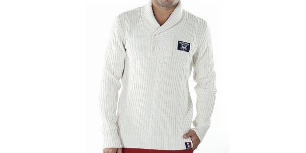 Pánský bílý svetr s copánkovým vzorem Bendorff
