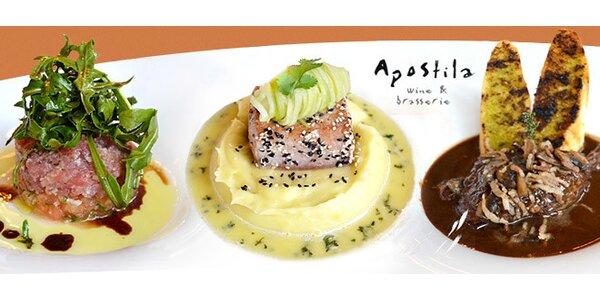 Luxusní 4chodové menu PRO DVA ve francouzské restauraci