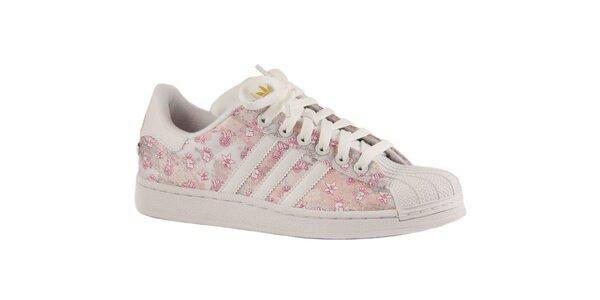 Dámské růžové textilní tenisky Adidas s špičkou
