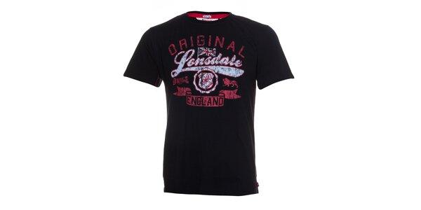 Pánské černé tričko Lonsdale s červeno-bílým potiskem
