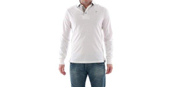 Pánské bílé polo s dlouhým rukávem Catbalou