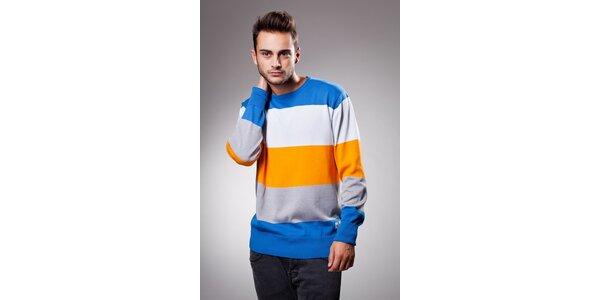 Pánský modro-oranžový proužkovaný svetr Celop