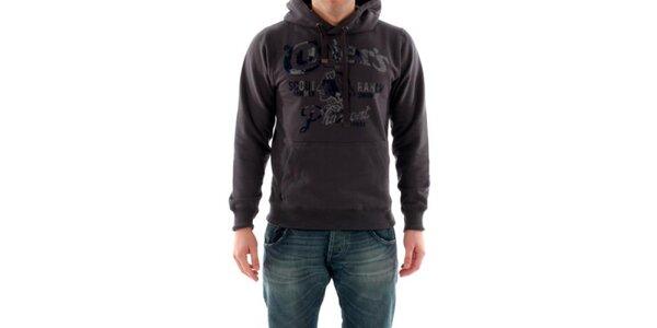 Pánská tmavě hnědá mikina s kapucí Hammersmith