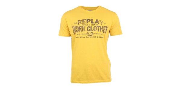 Pánské žluté tričko s potiskem Replay