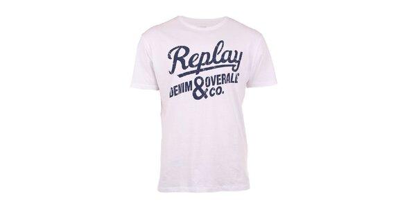 Pánské bílé triko s modrým nápisem Replay