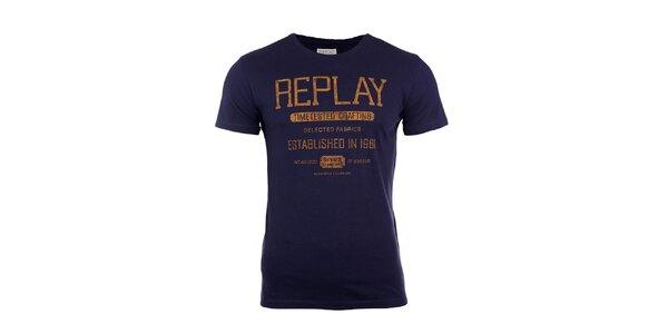 Pánské modré tričko s hořčicovým nápisem Replay