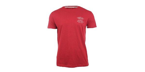 Pánské červené tričko s nápisem na zádech Replay
