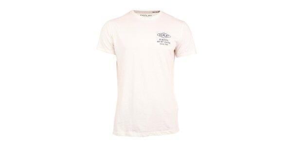 Pánské bílé triko s nápisem na zádech Replay
