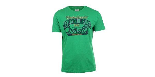 Pánské zelené tričko s modro-žlutým potiskem Replay