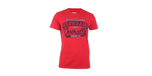 Pánské červené tričko s černo-bílým potiskem Replay