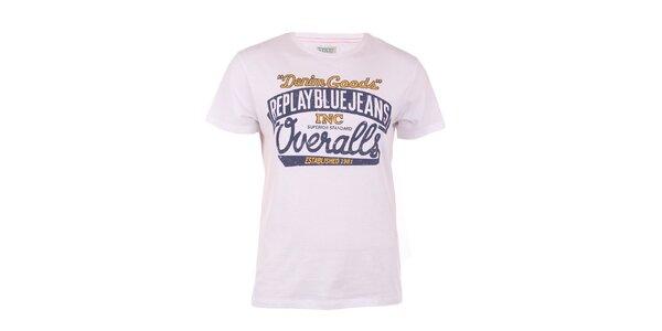 Pánské bílé tričko s modro-žlutým potiskem Replay