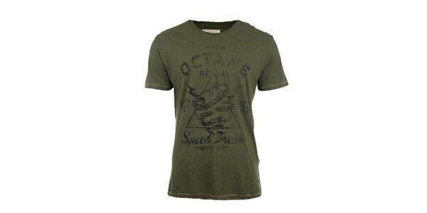 Pánské zelené tričko s potiskem Replay