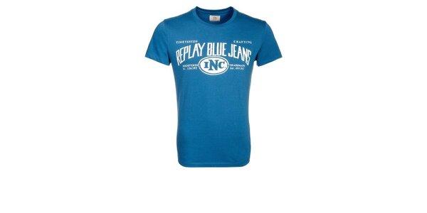 Pánské modré tričko s potiskem Replay