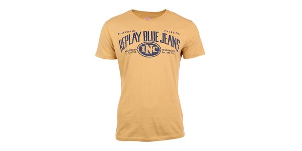 Pánské žluté tričko s nápisem Replay