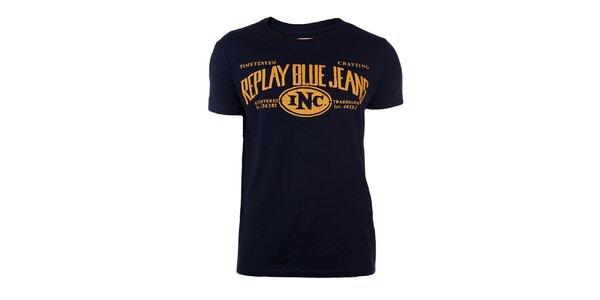 Pánské tmavě modré tričko se žlutým potiskem Replay