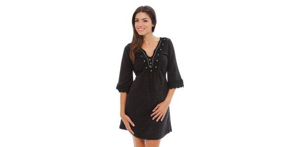 Dámské černé úpletové šaty Ada Gatti s krajkou