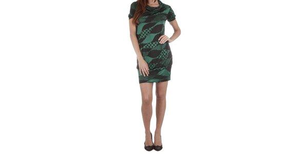 Dámské zeleno-černé úpletové šaty Miss Sixty