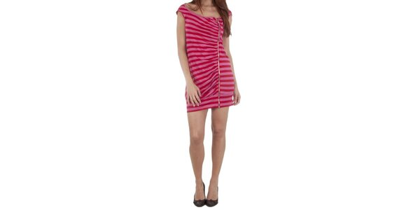 Dámské červeno-růžové šaty Miss Sixty se zipem